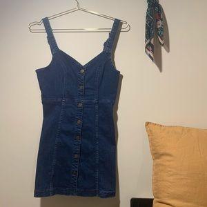 BDG Denim Button-Up Overall Dress/Pinafore